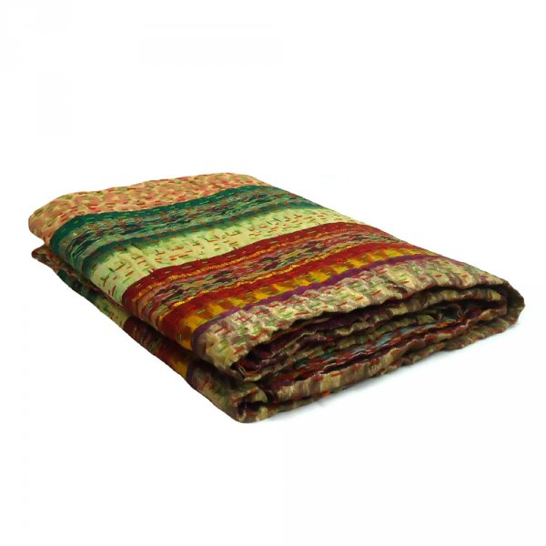 Decorative Multicolor Patola Stripes Silk Kantha TWIN Size Throw   SKU 0122