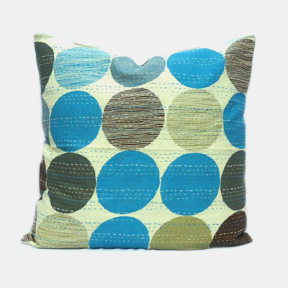 Circle Blue Kantha Cushion Covers SKU 08802