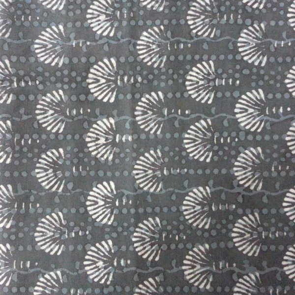 BAGRU GREY spectacular INDIAN block printed fabric SKU 32123