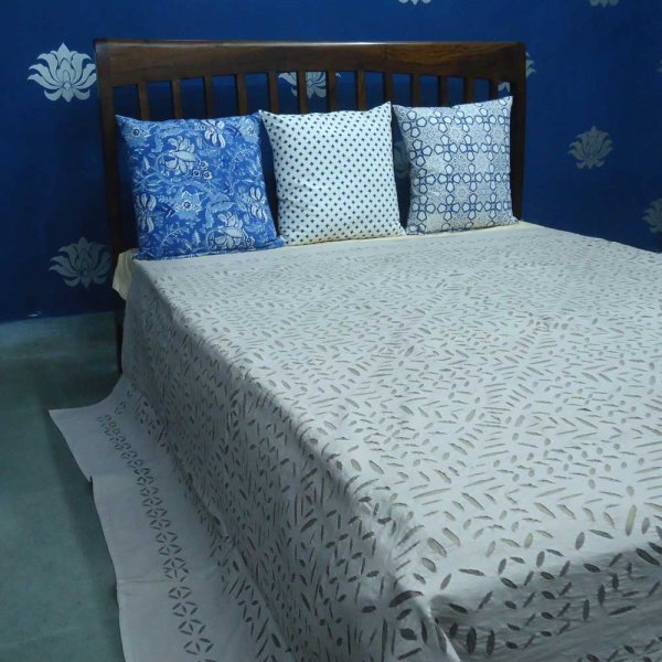 APPLIQUE CUT WORK Cotton Bedspread 100% Cotton Bedsheet. SKU 3367