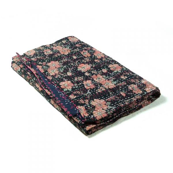 FLORAL BLACK MUTED Kantha Quilted Throw Indian Print SKU 4898