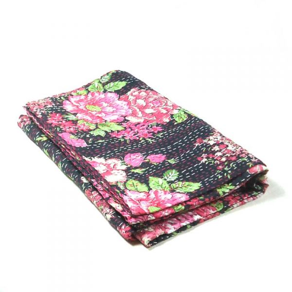 Pink Floral Kantha in Twin size Indian Embroidery SKU 4899