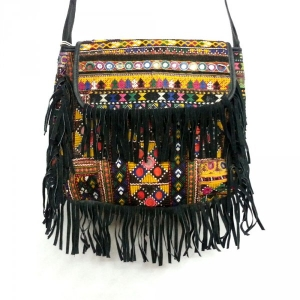 VINTAGE Afghan Banjara Embroidered Patch Vintage Leather Bag with  Frills SKU 6294