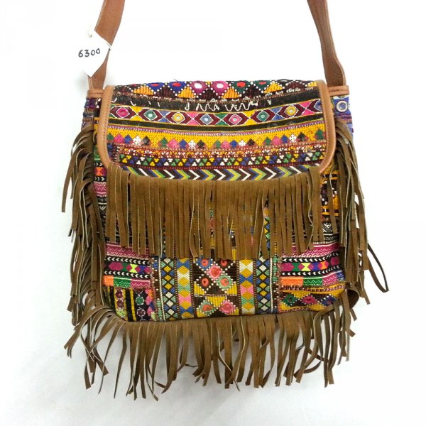 VINTAGE BANJARA afghan leather Bag with  Frills SKU 6300