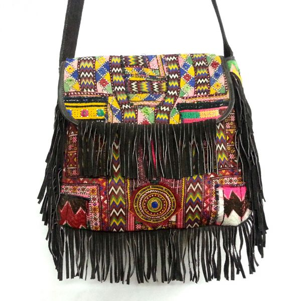 VINTAGE Afghan Leather Bag with  Frills SKU 6301