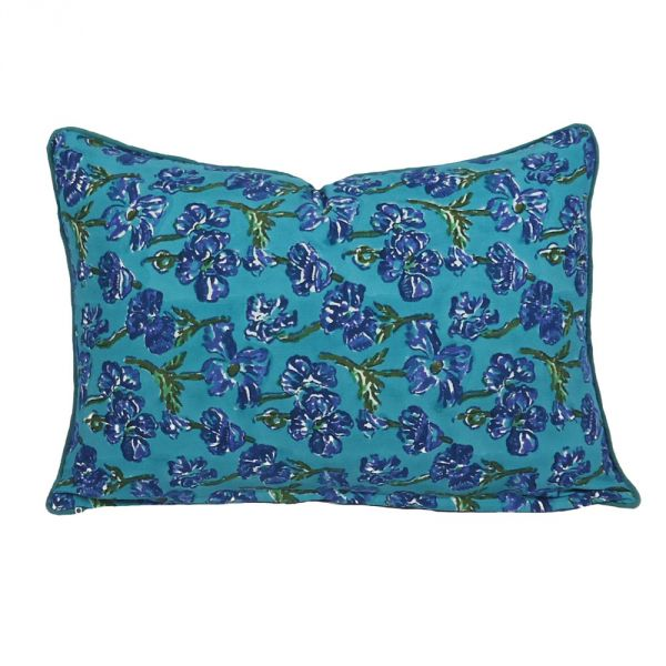 Blue Hibiscus Hand Block Printed Pillow Cover SKU 7662