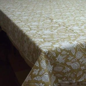 Amarnath Beige Hand Block Printed Tablecloth in Cotton | SKU 2890