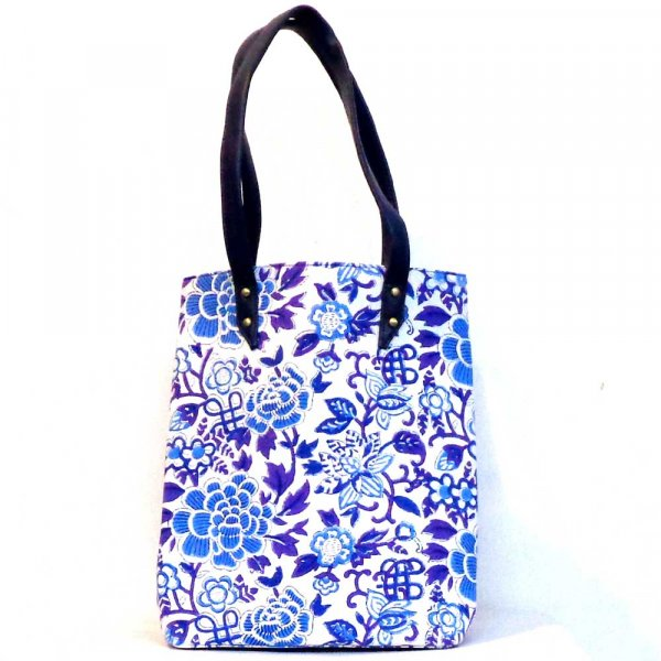 Hand Block Printed Cotton Hand Bags | Floral Canvas Brandies Blue Open 103601