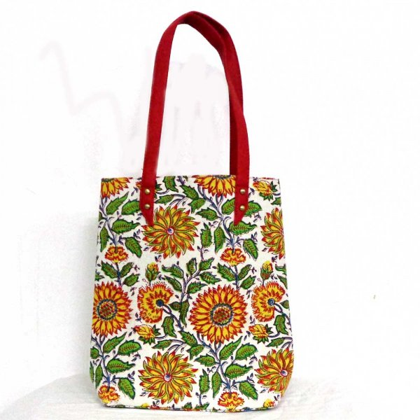 Hand Block Printed Cotton Hand Bags | Surajmukhi Canary Open 103122