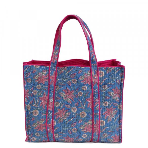 Hand Block Printed Cotton Quilted Tote Bag | 204391