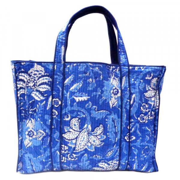 Hand Block Printed Cotton Quilted Tote Bag | Anarkali Blue Gud 105898
