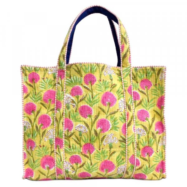 Hand Block Printed Cotton Quilted Tote Bag | Desert Blossom Pink Gud 200441