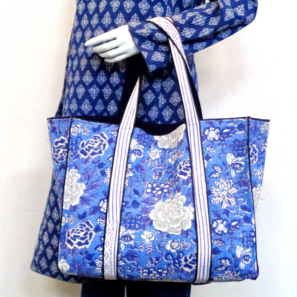 Hand Block Printed Cotton Quilted Tote Bag | Floral Canvas Brandies Blue 109978