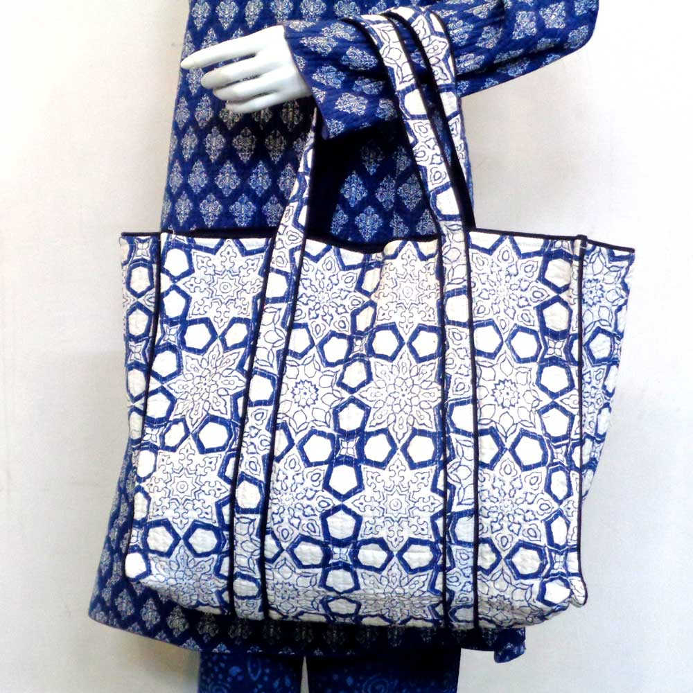 Hand Block Printed Cotton Quilted Tote Bag | Geo Chokri Blue 109981