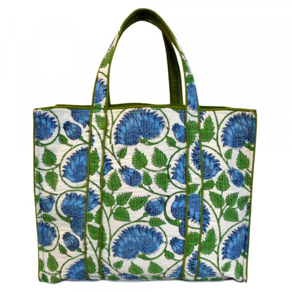 Hand Block Printed Cotton Quilted Tote Bag | Kamal Aqua Open 202396