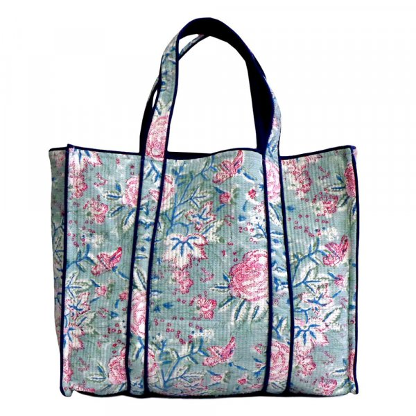 Hand Block Printed Cotton Quilted Tote Bag | Naya Gulab Gud 204024