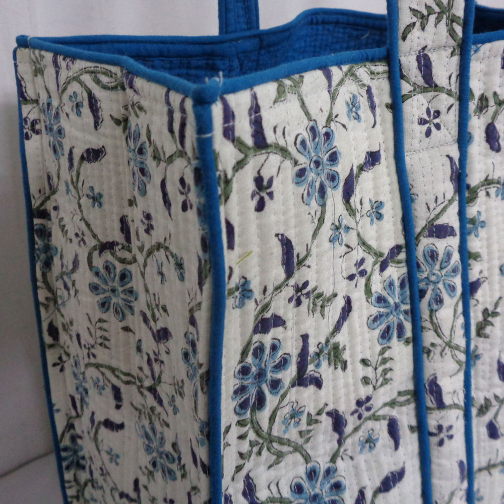 Hand Block Printed Cotton Quilted Tote Bag | Ragini Blue 202412