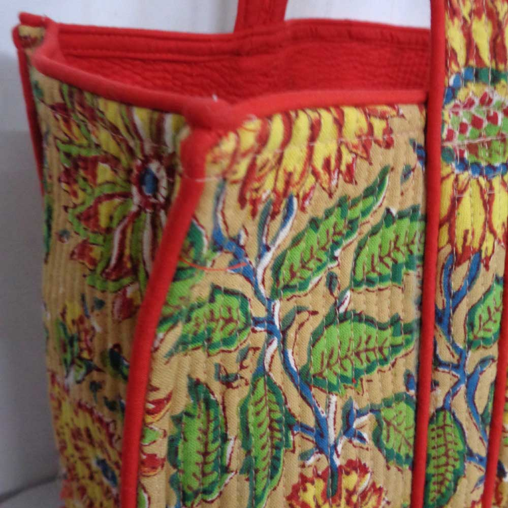 Hand Block Printed Cotton Quilted Tote Bag | Surajmukhi Canary Gud 105366