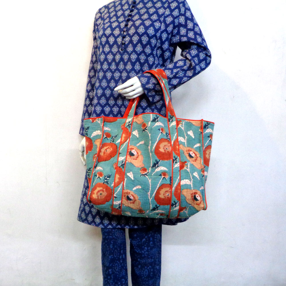 Hand Block Printed Cotton Quilted Tote Bag | Teal Flower Gud 105899