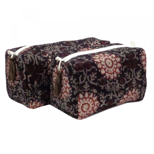 Hand Block Printed Cotton Quilted Cosmetic Bag (Set of 2) | 101347