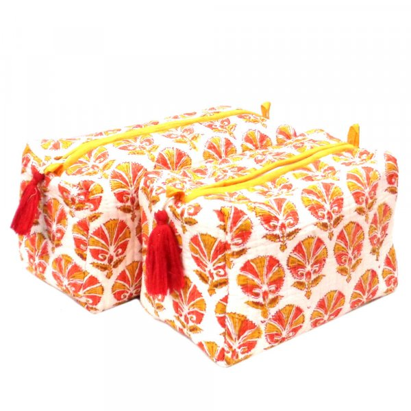Hand Block Printed Cotton Quilted Cosmetic Bag | 107200