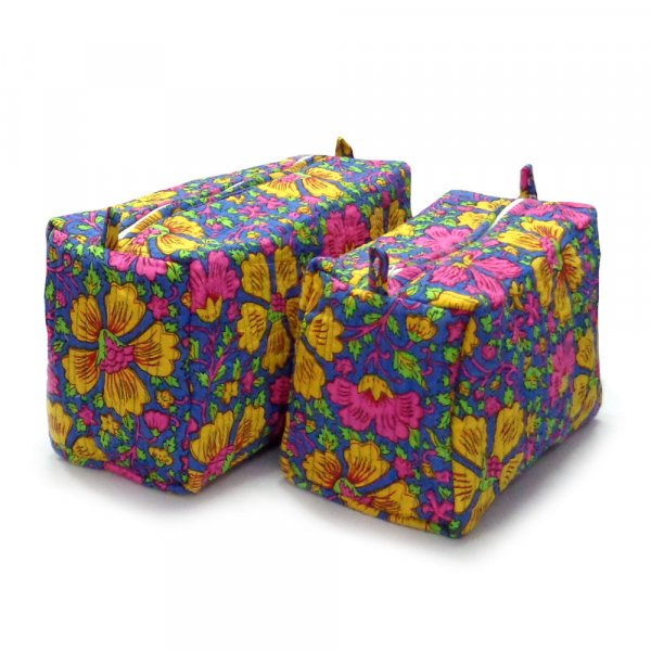 Cotton Quilted Cosmetic Bag | Multi Floral 109604