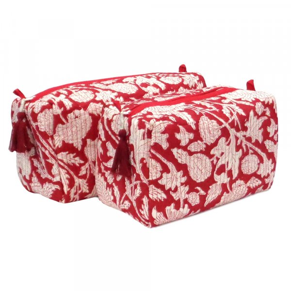Hand Block Printed Cotton Quilted Cosmetic Bag (Set of 2) | Amarnath Red 101357