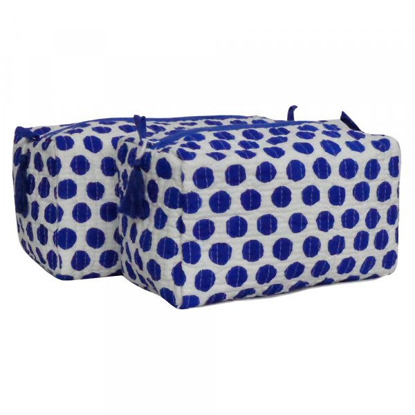 Hand Block Printed Cotton Quilted Cosmetic Bag (Set of 2) | Dotty Blue 109830