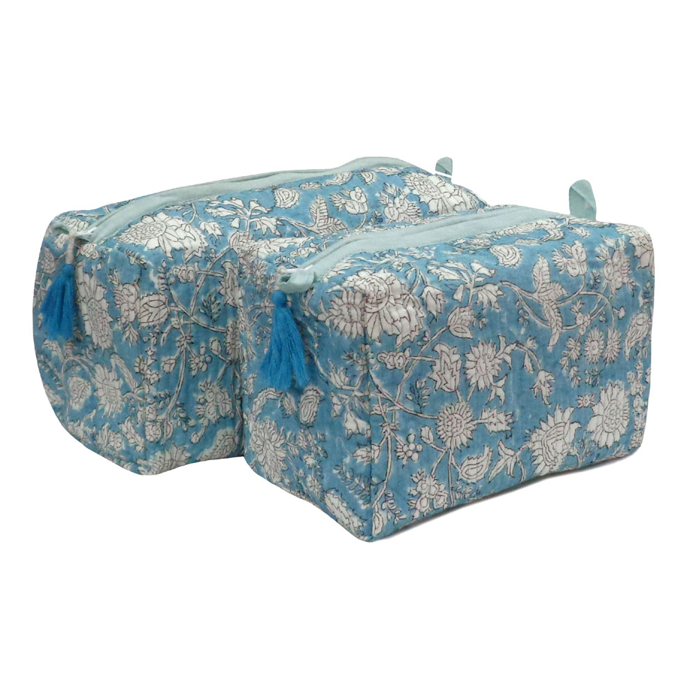 Hand Block Printed Cotton Quilted Cosmetic Bag (Set of 2) | Turq Flower 103835