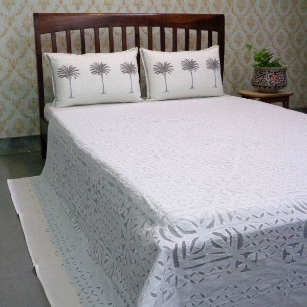 Hand Cut Work Organdy Cotton Applique Bedspread |  102838