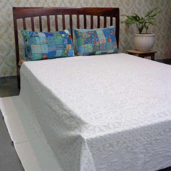 Hand Cut Work Cotton Applique Bedspread Queen Size | 102072