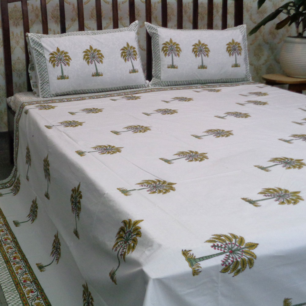 Hand Block Printed Cotton Percale King Size Bedspread | 100188