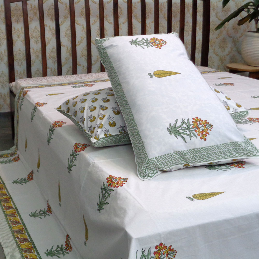 Hand Block Printed Cotton Percale King Size Bedspread | 100196