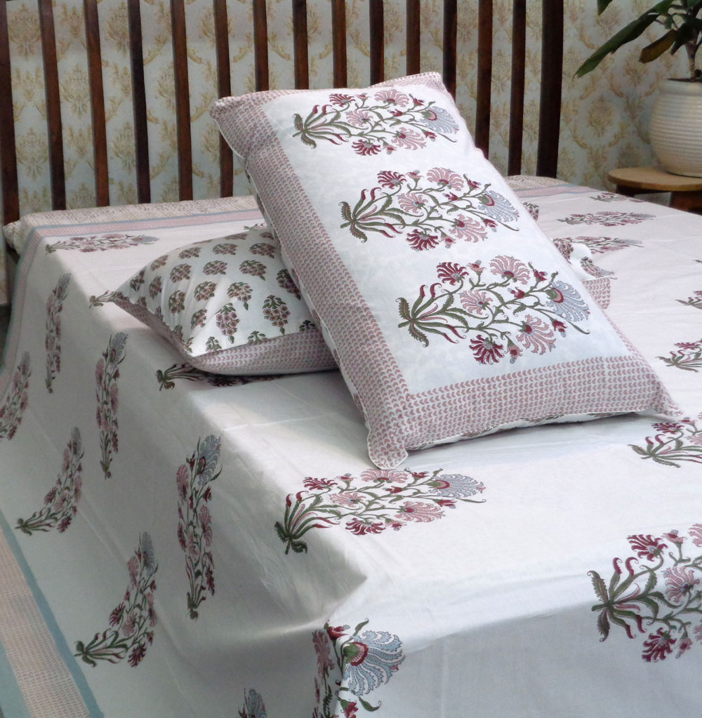Hand Block Printed Cotton Percale King Size Bedspread | 100218