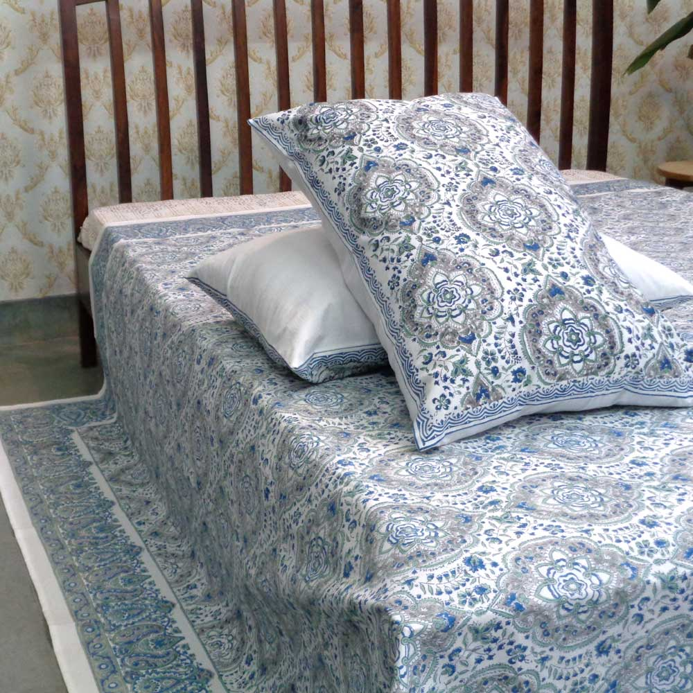 Hand Block Printed Cotton Percale King Size Bedspread | 100257