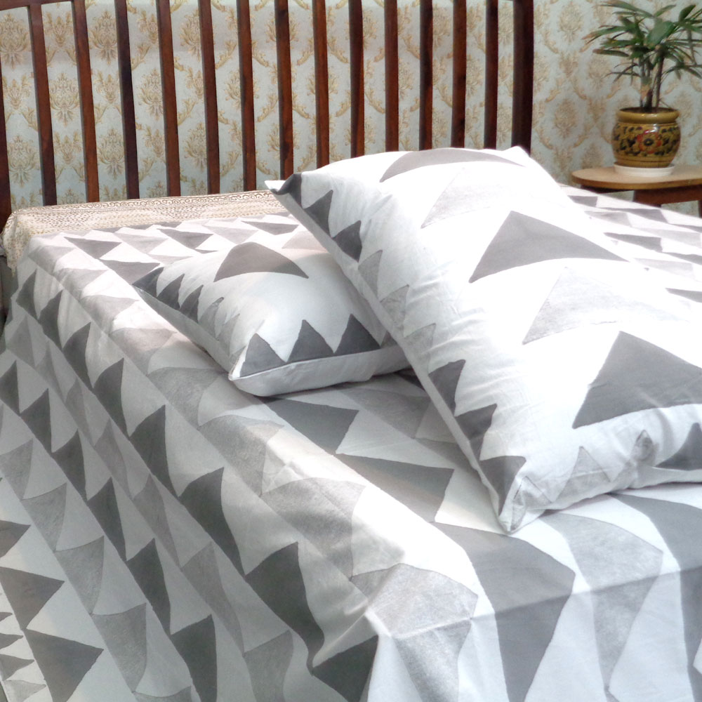Cotton Block Printed Percale King Size Bedspread | SKU 104971