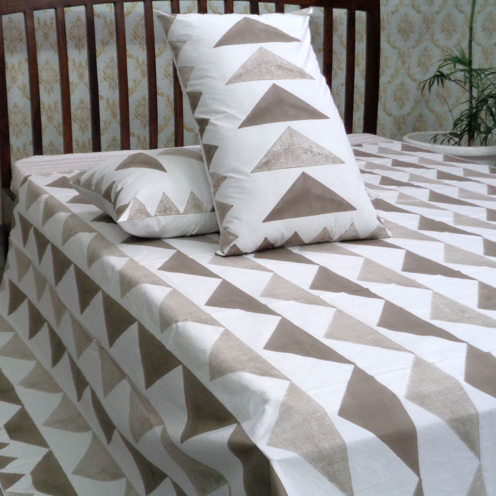 Cotton Block Printed Percale King Size Bedspread | 106142