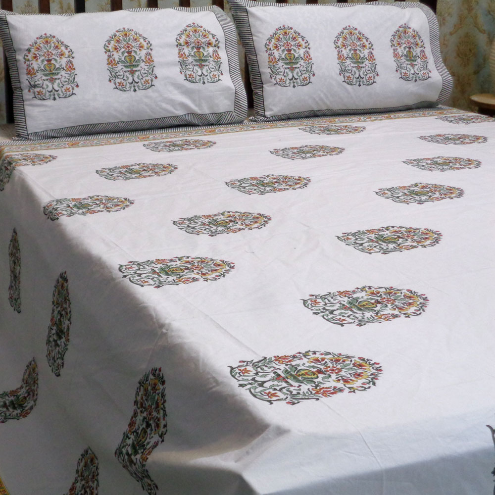 Hand Block Printed Cotton Percale King Size Bedspread | 101898