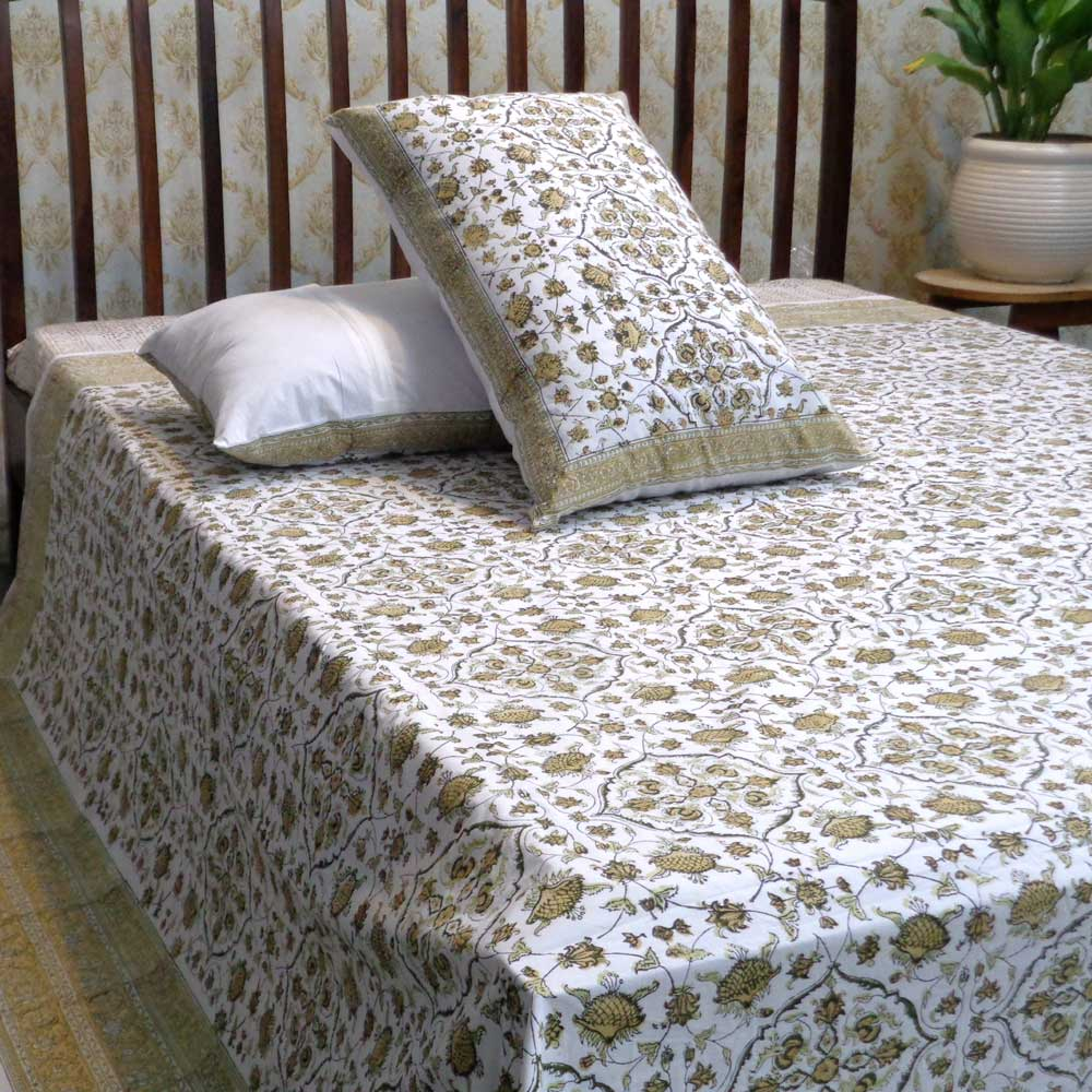 Hand Block Printed Cotton Percale King Size Bedspread | 101915