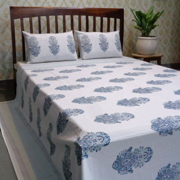 Hand Block Printed Cotton Percale King Size Bedspread | 101940