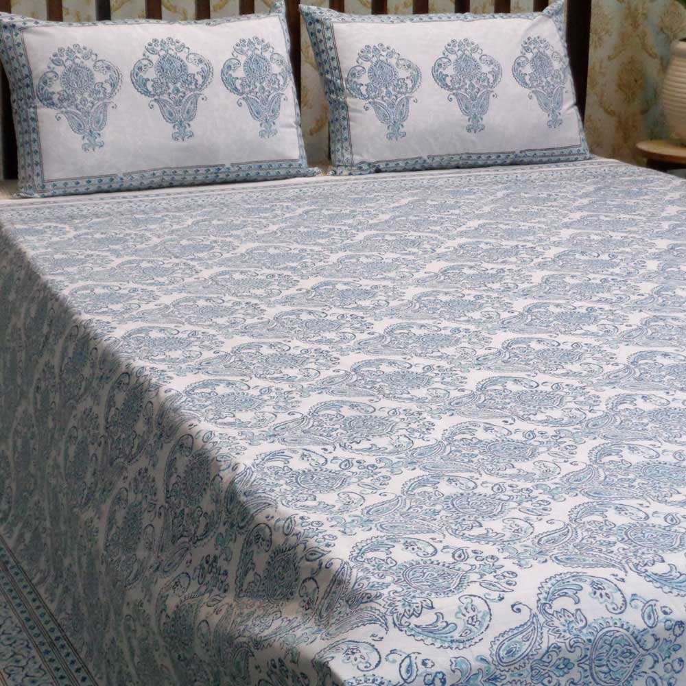 Hand Block Printed Cotton Percale King Size Bedspread | 101949