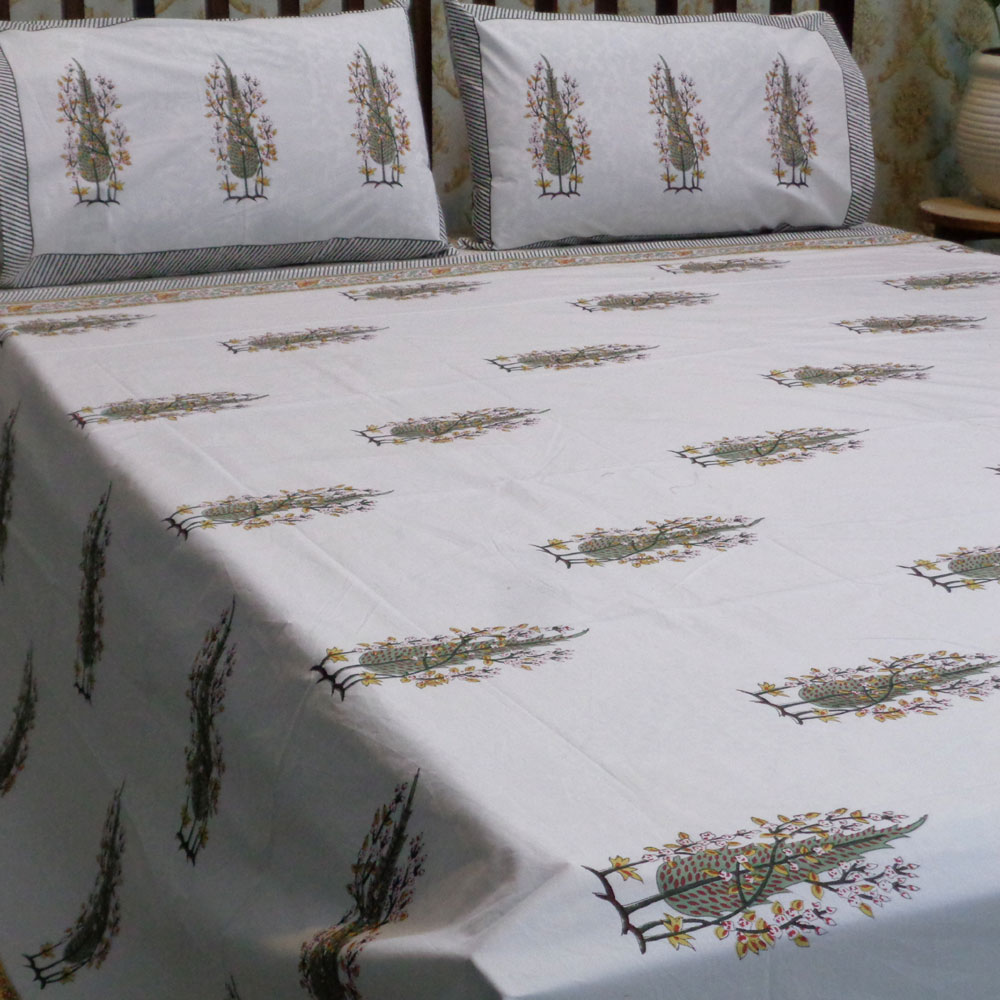 Hand Block Printed Cotton Percale King Size Bedspread | 101968