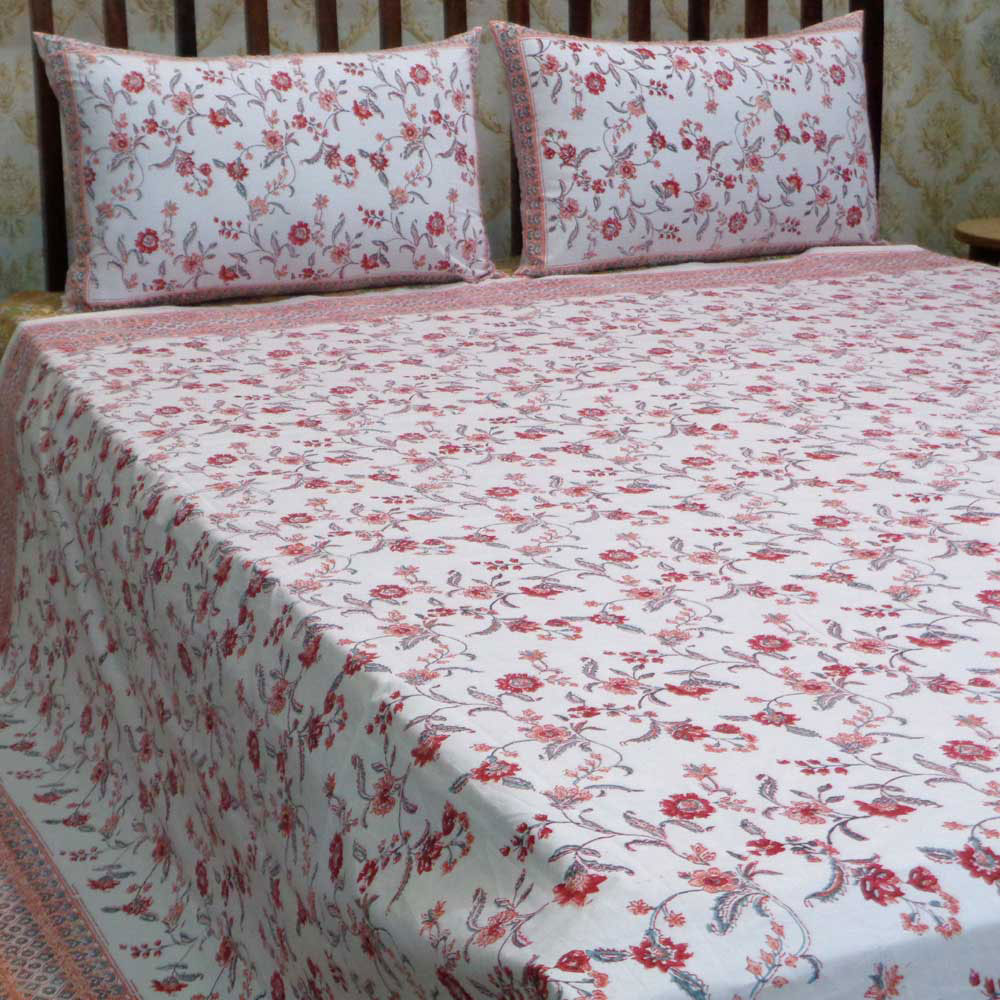 Hand Block Printed Cotton Percale King Size Bedspread | 106495
