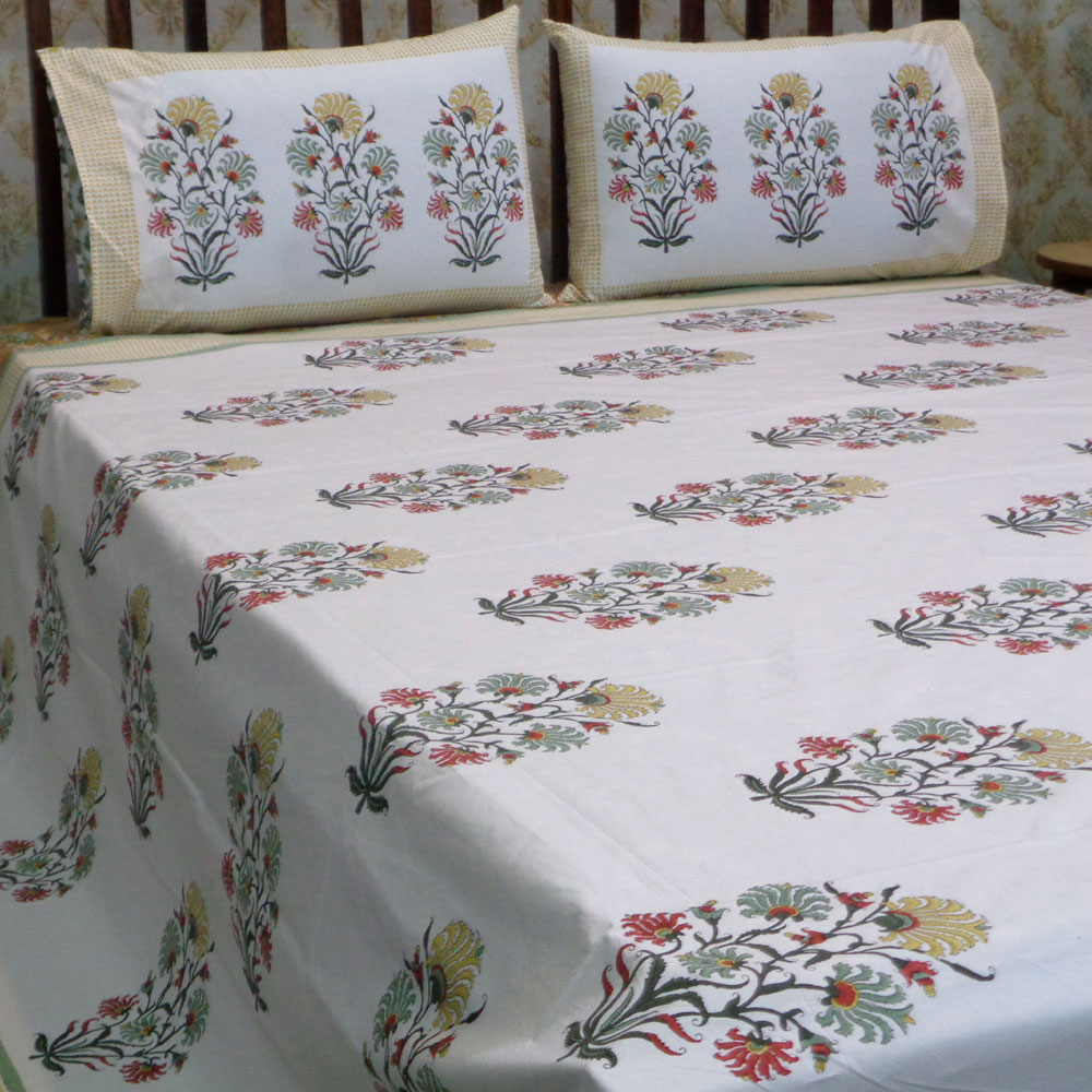 Hand Block Printed Cotton Percale King Size Bedspread | 106514