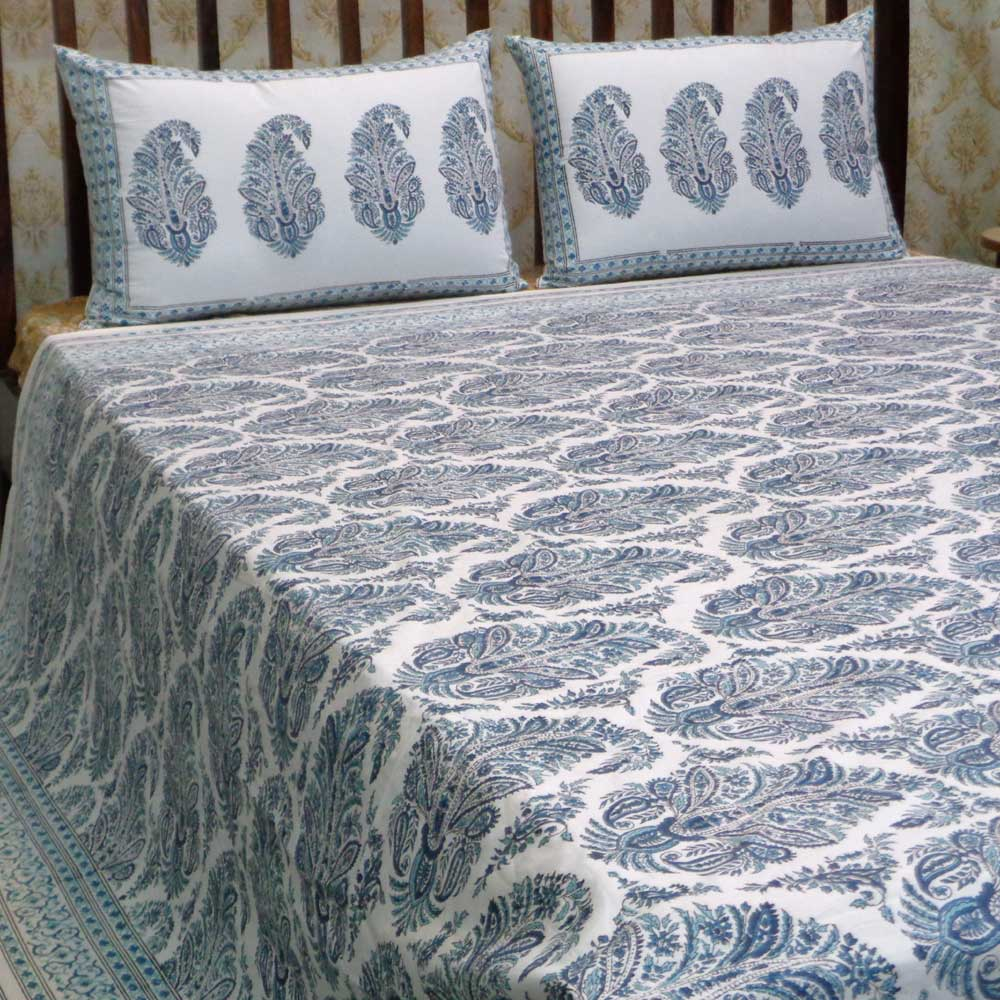 Hand Block Printed Cotton Percale King Size Bedspread | 106596