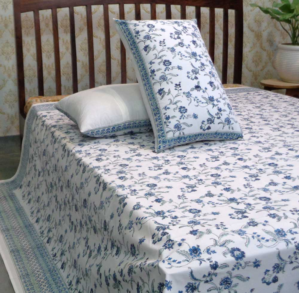 Hand Block Printed Cotton Percale King Size Bedspread | 106640