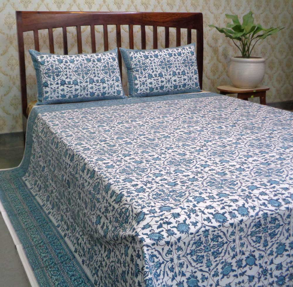 Hand Block Printed Cotton Percale King Size Bedspread | 106656