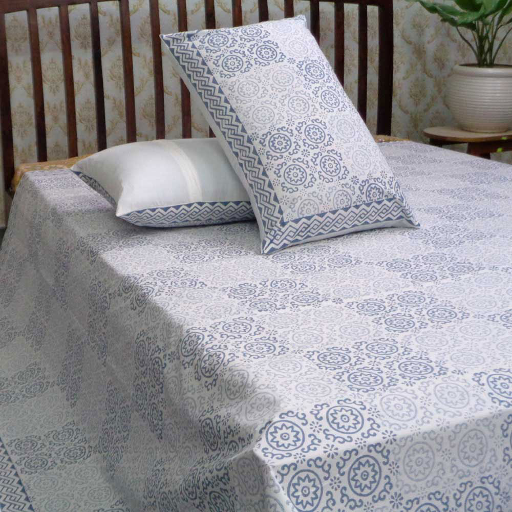 Hand Block Printed Cotton Percale King Size Bedspread | 107080