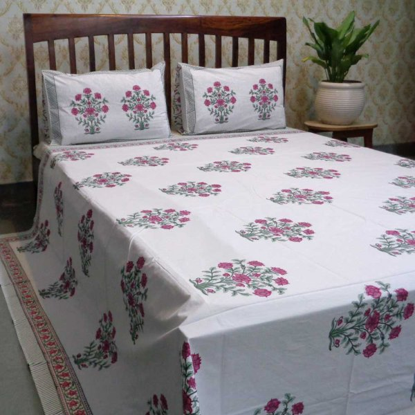 Hand Block Printed Cotton Percale Queen Size Bedspread | 101863