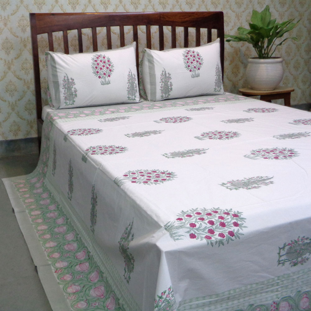 Hand Block Printed Cotton Percale Queen Size Bedspread | 104359
